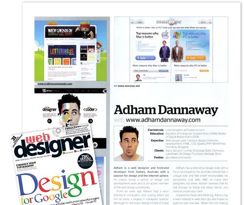 featured in Web Designer Magazine