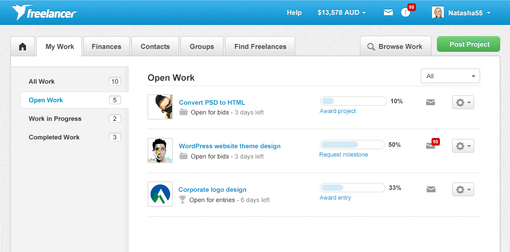 work listings user interface
