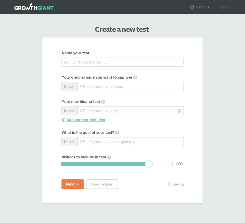 create new test UI