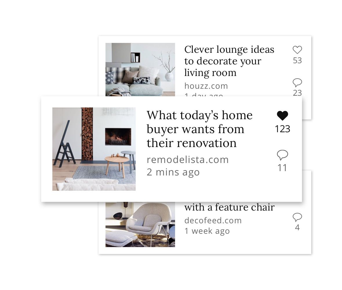 Interior design news feed tiles
