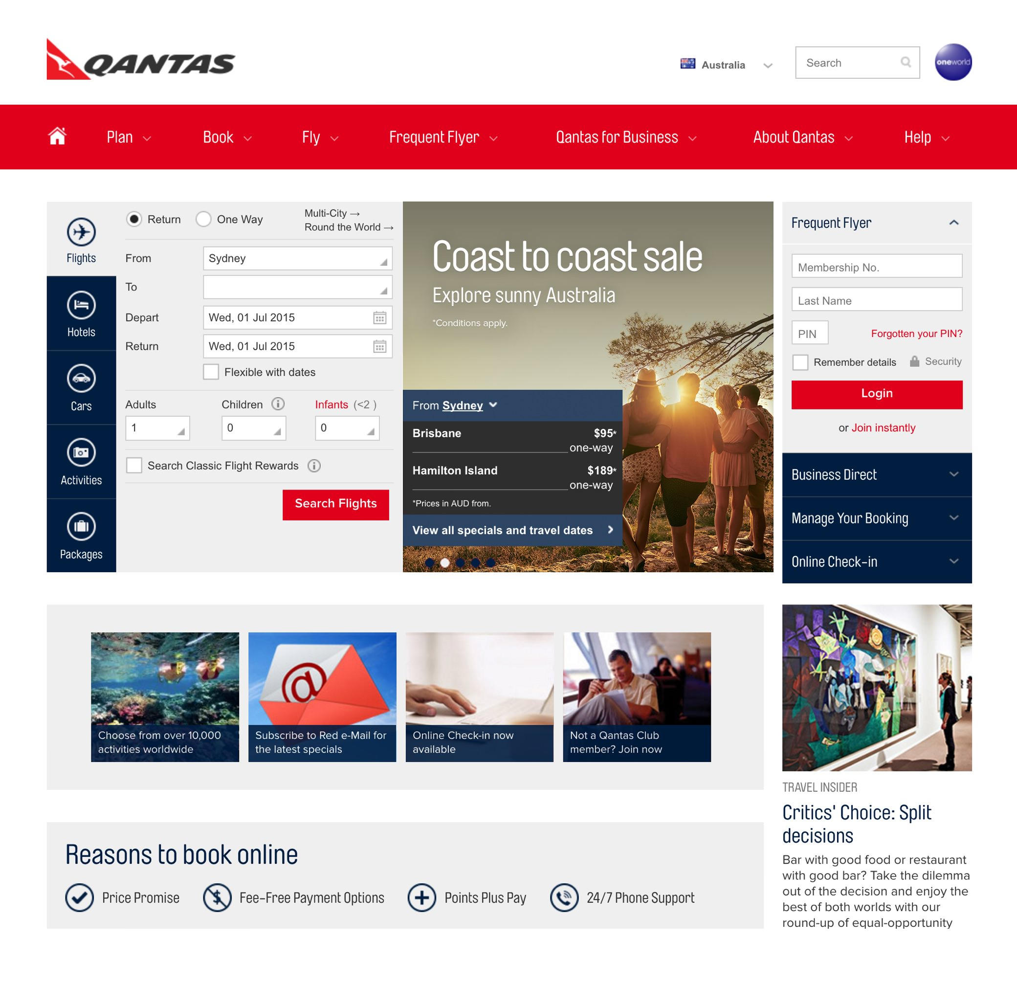 The old Qantas homepage (2014)